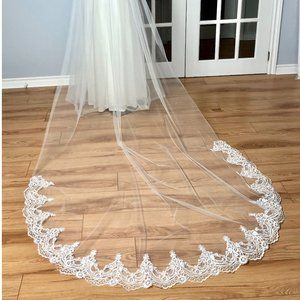 Soft Cathedral Wedding Veil w/ Lace & Rhinestones